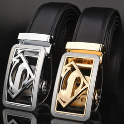 Automatic Buckle Black Real Leather Belt