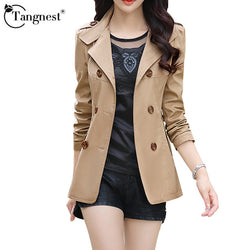 Tangnest | Women Spring Autumn Jacket Fashion Double-Breasted Slim Five Solid Colors Plus Size