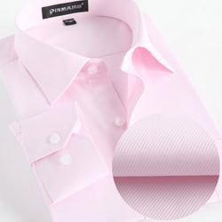 Spring Dress Shirts Mens Formal Non Iron Solid Long Sleeve