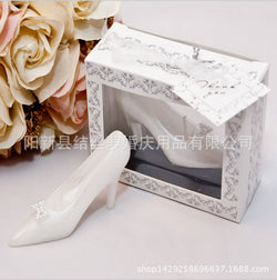10Pcs Wedding Gifts /High-Grade Crystal Shoes Handmade Candles Creative White High Heels Wedding Candles