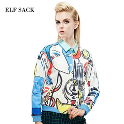 Elf Sack | Women Abstract Character Print Loose Short Jacket Single Breasted
