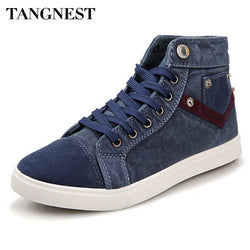 Tangnest | Men Denim Canvas High Top Shoe Boots