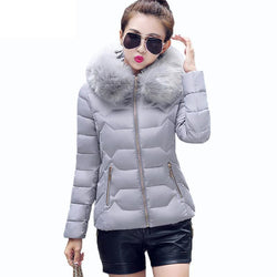 Womens Winter Jackets And Coats Womens Parkas Thick Warm Faux Fur Collar Hooded Anorak Ladies Jacket Female Manteau