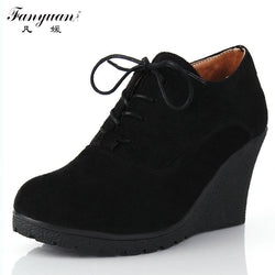 Fanyuan | Women Wedge Boots Flock High-Heeled Platform Ankle Boots