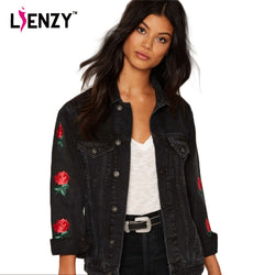 Lienzy | American Apparel Spring Women Jacket Rose Embroidery Sleeve Vintage