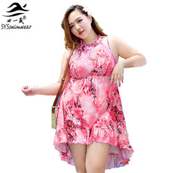 High Quality Plus Size Summer Sexy Women Swimsuit One Pieces Swimwear Floral Ruffle Skirt Lady Beach Dress Bathing Suit