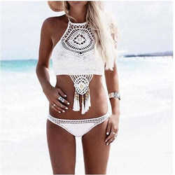 Bohemia Style Off Shoulder, High Neck Handmade Crochet Bikini Set