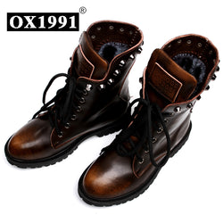 Fashion Spring Genuine Leather Skull Ankle Women Boots Ox1991 Quality Black Women Shoes #8311