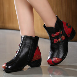 Retro Round Toe Women Boots Handmade Genuine Leather