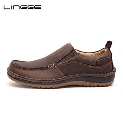 Lingge | Men Brown Leather Loafers Casual Shoes