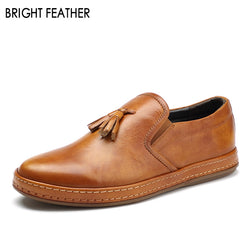 Bright Feather | Men Old Fashion British Design Tassels Manual Loafers