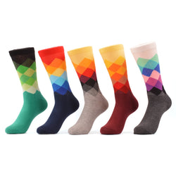 Warboys 5 Pair Happy Socks Cotton Brand Harajuku Men Socks Colorful Dress Long Knit Funny Socks Wedding Gifts Us Size (7.5-12)