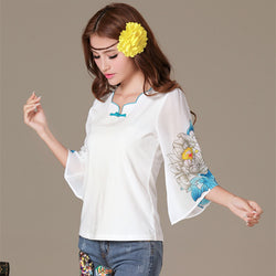 Women Fashion Blouse Ruffles Sleeve White Chiffon Cotton Floral Print Top