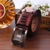 Hot Sale Brand Luxury Genuine Leather Belt For Men Casual Hollow Designer Belts Mens High Quality Strap Jeans Coffee