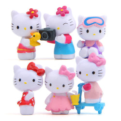 Baby Toys 6 Pcs /Set Hello Kitty Cat Summer Refreshing Camera Models Diy Doll Action & Toy Figures Doll Funko Pop Toy Brinquedos