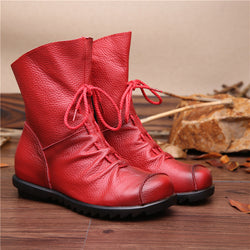 Vintage Style Genuine Leather Women Boots Flat Booties Soft Cowhide Women'S Shoes Front Zip Ankle Boots Zapatos Mujer