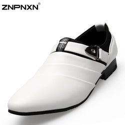 Znpnxn | Men Oxford White Pu Leather Shoes