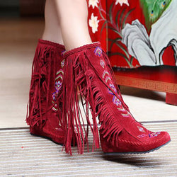 New Women Fashion Flock Tassel Knee Long Boots Lady'S Causal Sexy Long High-Heeled Boots High Quality Red Black Brown Aa253