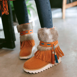 New Fashion Flat Heel Black Ankle Women Boots Shoes Beaded Plush Suede Nubuck Winter Boot Woman Tassel Warm Snow Boots Aa554