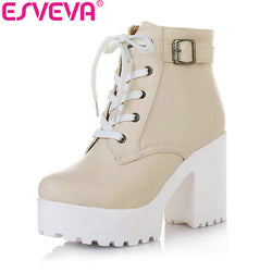 Esveva 3 Color Winter Lace-Up Sexy Women Boots Fashion Platform Punk High Square Heels Black Buckle Ankle Boots Plus Size 34-43
