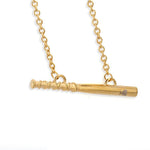 Golden Bat Bar Necklace - Baseball Legend Apparel