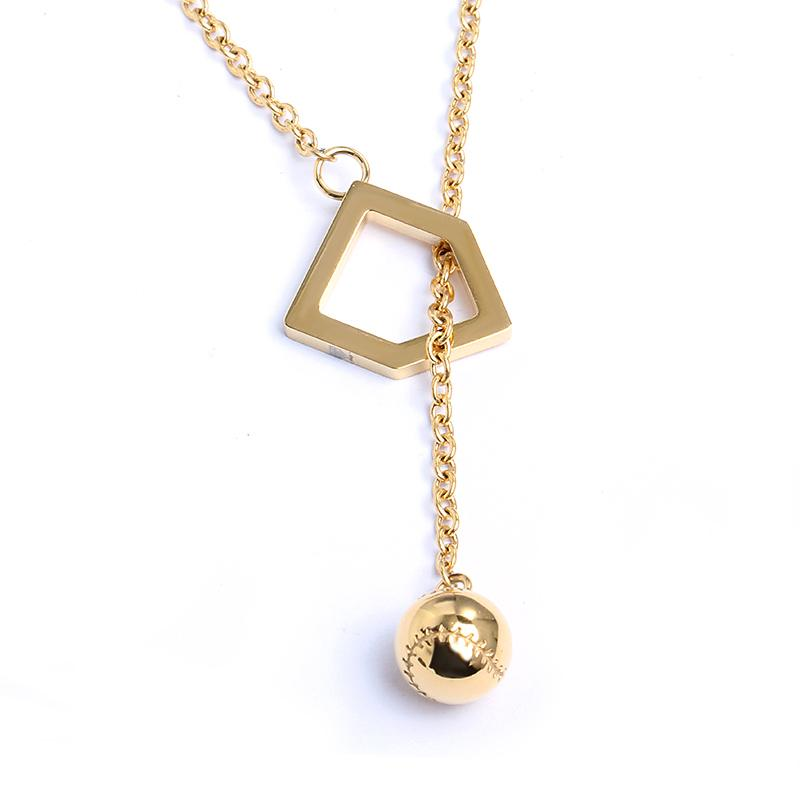 Ball and Home Plate Y-Type Necklace - Baseball Legend Apparel