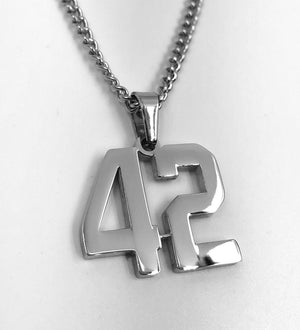 Stainless Jersey Number Pendant with Chain Necklace - Baseball Legend Apparel