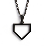 Black Home Plate Necklace - Baseball Legend Apparel