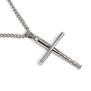 Stacked Bat Cross Pendant With Chain Necklace - Baseball Legend Apparel
