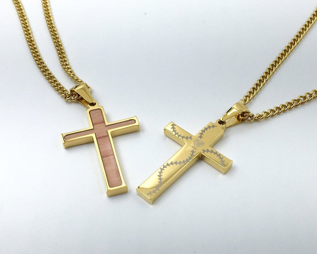 Stitched Bat Wood Inlay Cross Pendant and Chain - Baseball Legend Apparel