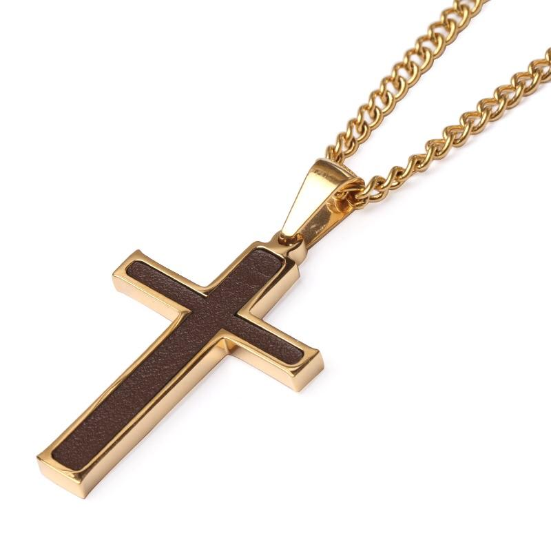 Golden Baseball Glove Leather Inlay Cross and Chain - Baseball Legend Apparel