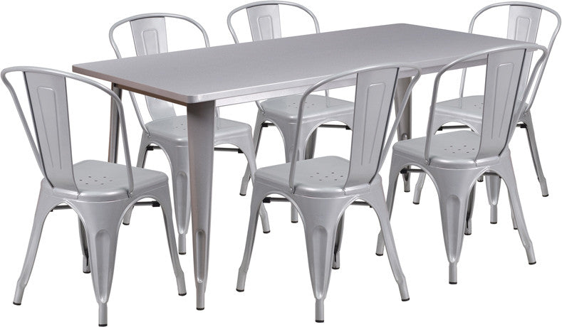 TBD7007 Metal In-Outdoor Round Table Set with 4 Stack Chairs 31.5x63 8 Colors