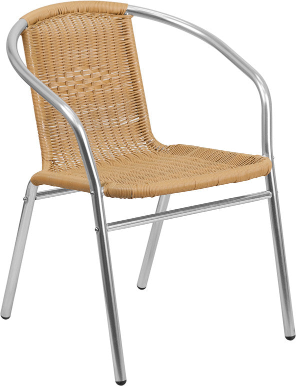 TBD3001 Aluminum Beige Rattan Commercial In-Outdoor Patio Chair