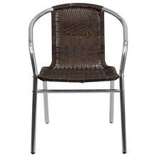TBD3002 Aluminum Dark Brown Rattan Commercial In-Outdoor Patio Chair