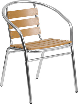 TBD3004 Aluminum Triple Slat Faux Teak Back Commercial In-Outdoor Patio Chair