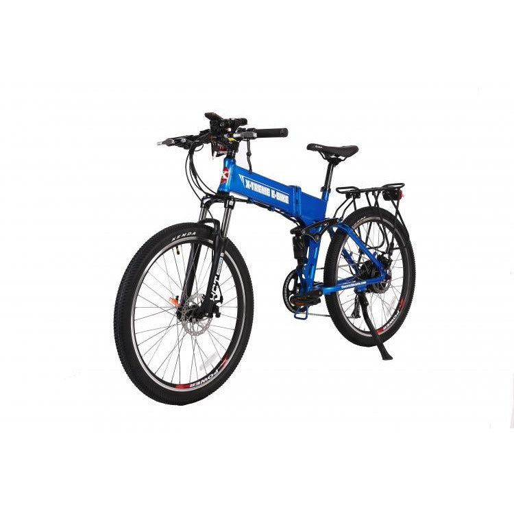 X-Treme Baja 48 Volt Folding Electric Mountain Bicycle color blue