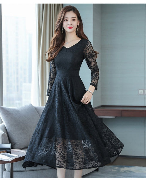 Plus Size Women Dress Boho V Neck Lace Dresses Long Sleeve tunic dress