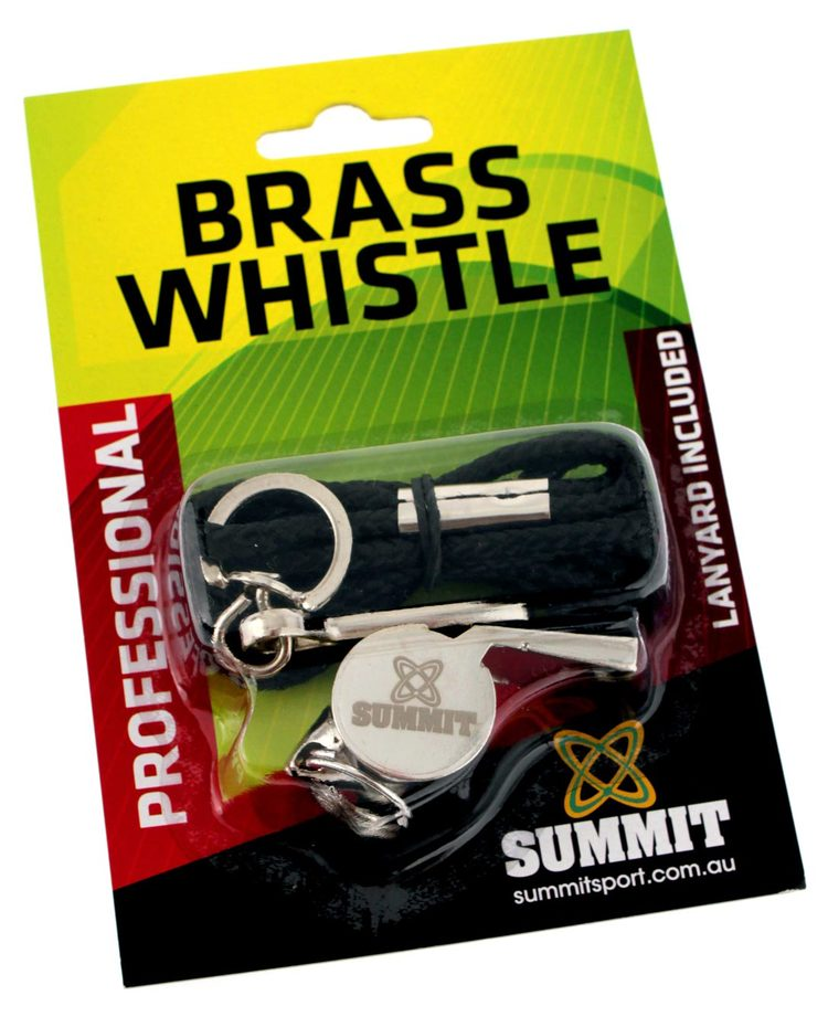 BRASS WHISTLE WITH LANYARD
