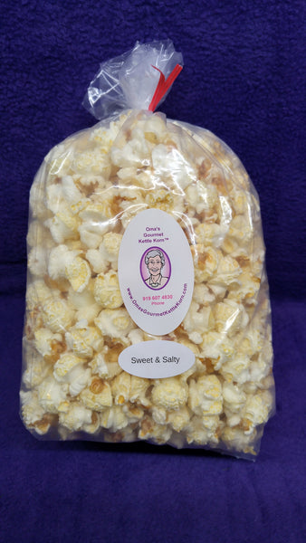 Our Sweet & Salty is the original kettle corn.  Better than what you find at the fair!!  Sweet crunch with a salty tang.  YUM!!!!!