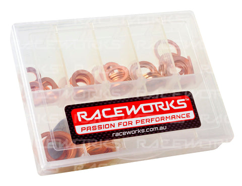 RACEWORKS COPPER WASHER KIT 10 OF EACH SIZE 8mm TO 16mm - Quickbitz