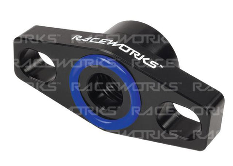 RACEWORKS TURBO DRAIN ADAPTER FEMALE AN-8 OUTLET UNIVERSAL 38-44MM SLOTTED - BLACK
