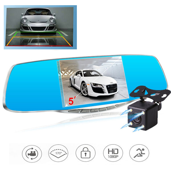 dual lens  car camera rearview mirror auto dvr dash cam
