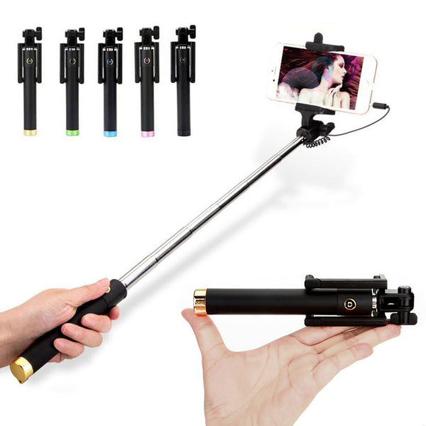 Mini wired selfie stick 18.5-80cm foldable bracket monopod for 4inch-6inch