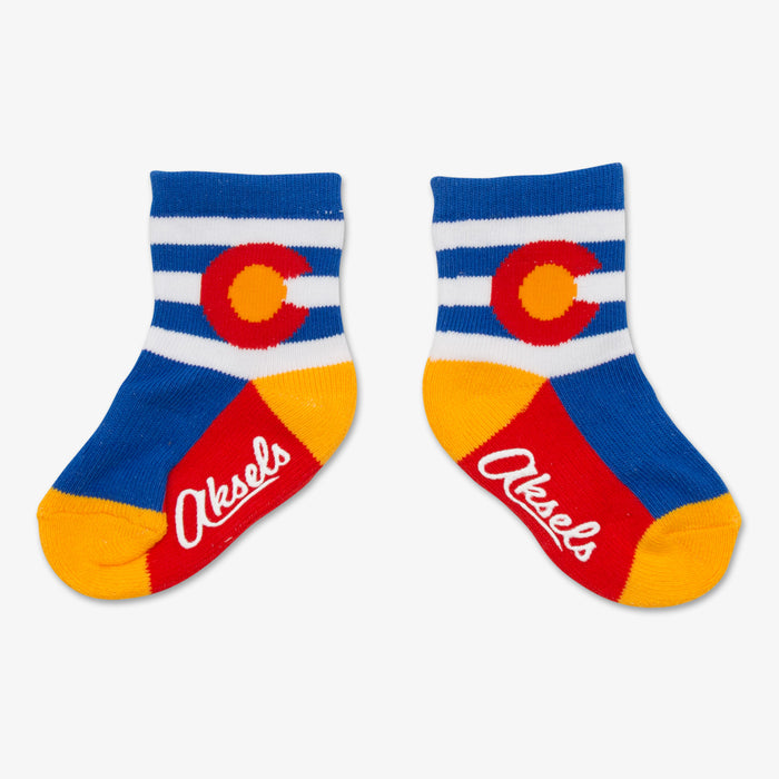 Aksels Striped Colorado Flag Toddler Socks