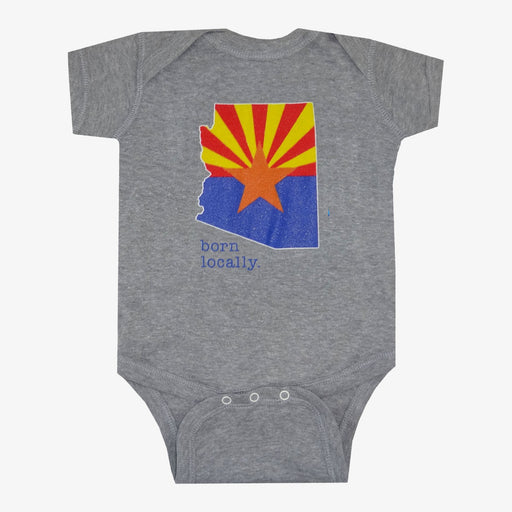 Born Locally Arizona Flag Onesie - Gray