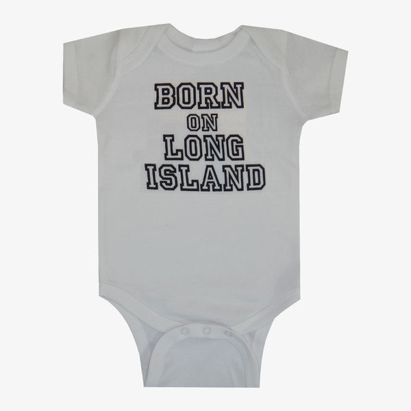 Born on Long Island Varsity Bodysuit White