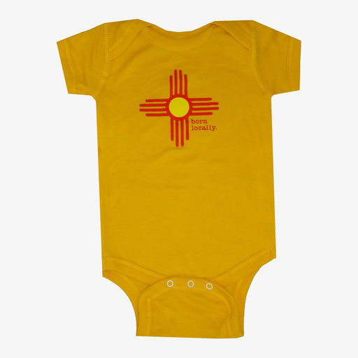 Born Locally New Mexico Zia Onesie - Gold