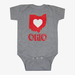 Ohio Heart State Outline Chalk Bodysuit Grey