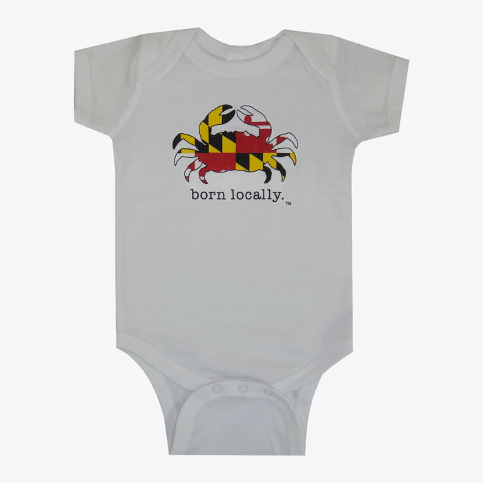 Born Locally Maryland Flag Crab Onesie