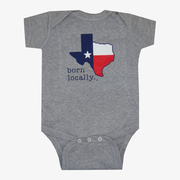 Born Locally Texas Onesie - Gray